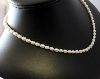 Rice Pearl Necklace - Cultured Freshwater Pearl Necklace - Cultured Freshwater Soft White Rice Pearls Necklace - Classic Gemstone Necklace