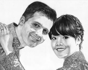 A3 professional custom pencil portrait from your photo (2 persons) FREE SHIPPING!