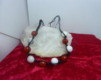 Friendship Bracelet made of genuine CARNELIAN gemstones and HOWLITE