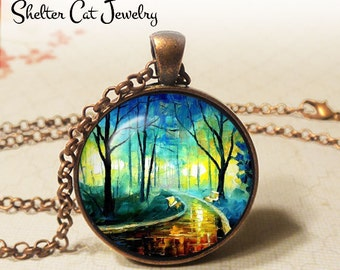 """Park at Night Necklace - 1-1/4"""" Circle Pendant or Key Ring - Wearable Art Photo - Trees, Impressionist Artwork, Pathway, Woods Gift"""