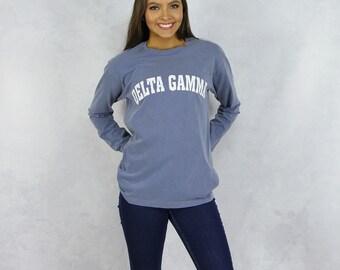 Delta Gamma Comfort Colors Long Sleeve T-Shirt in Denim Blue