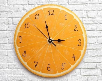 Orange Clock, Citrus Wall Decor, Kitchen Clock, Orange Kitchen Decor, Tropical Fruit Decor, Wood Clock, Bright Kitchen Decor