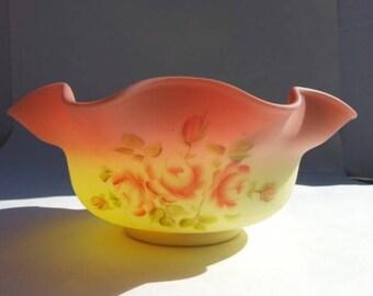 1970s Fenton Burmese Glass Large Bowl, Fenton Art Glass Bowl Ruffle Top, Artist Signed Burmese Glass Bowl, Artist J. Wilson,