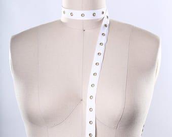 "White Cotton Grommet Tape/ White Cotton Eyelet Trim/ 3/4"" Cotton/ Grommet Holes for Lacing"