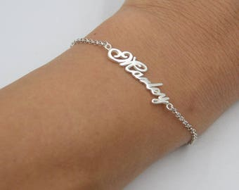 Silver name bracelet-nameplate bracelet-women name jewelry-custom Christms gift,handmade jewelry