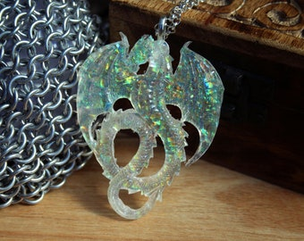 Crystal Colour Change Dragon Necklace Resin Pendant