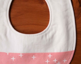 Pink Stars Bib, Baby Drool Bib, Pretty Pink and White Star Baby Bib Gift, Newborn Baby Gift for Girl, Teething Bib, Stars Nursery, PINK WINK
