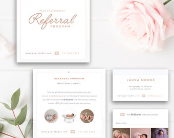 Photography Referral Card, Photoshop Template, Referral Program, Tell a Friend, Photographer Templates - INSTANT DOWNLOAD!