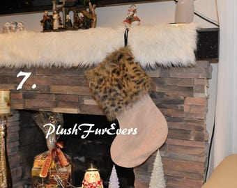 Faux Fur Stocking Holiday Decorative Fur Decors Red White Blue Solid Fur Fireplace Decor Stocking