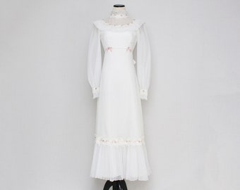 70s Prairie Wedding Dress - Size Extra Small Vintage 1970s Long White Bridal Gown
