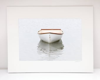 Nautical Boat Photography, 11x14 Matted Print, Cape Cod Rowboat Photo, Truro Provincetown Picture, Neutral Ivory Beige White Coastal Decor