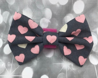 Piece of My Heart Charcoal Pink Gray Hearts Large Pet Dog Cat Bow / Bow Tie