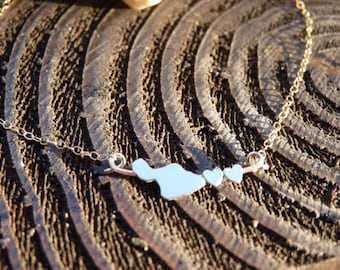 Just Maui'd, Two Hearts In love Maui 14kgf or Sterling Necklace