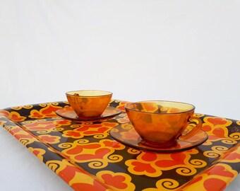 Tray metal 70's orange brown yellow, retro serving tray, tray vintage Bistro, kitchen vintage, flower, Bohemian kitchen set