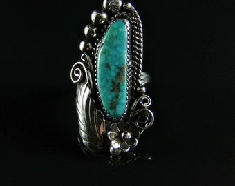 Sterling Silver Ring With Turquoise; Handmade Size 8.0, R0388