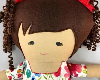 Handmade doll, Fabric doll, rag doll, cloth doll, plushie - Lilly
