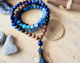 Lapis Lazuli 108 Mala Necklace tassel. Serenity Communication Sandalwood Gemstone Mala, 108 Mala beads, Healing Necklace, Tassel Mala, Yoga