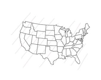 Map of USA in Outline Hand Drawing Style (Real hand drawing) - United States of America Map - SVG/JPG - Instant Downloadafter purchase