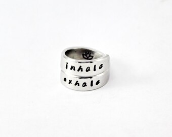 Inhale Exhale Spiral Ring, Yoga Wrap Ring with Lotus, Meditation Inspired Wrap, Hand Stamped Aluminum Ring