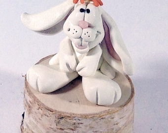 Cute  Easter Bunny with chick, a OOAK hand made polymer clay sculpture