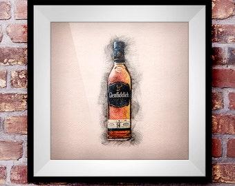 Glenfiddich 14  - Crosshatch Whisky Wall Art