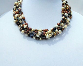 Freshwater Pearl statement necklace cream brown gold chunky sale