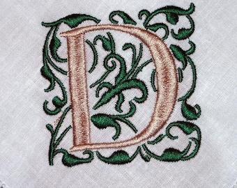 Serviette, Leinenservietten, hemstitched Leinen, monogrammiert Hochzeitsgeschenk, Servietten, set von 8 Gracie Monogramm bestickt