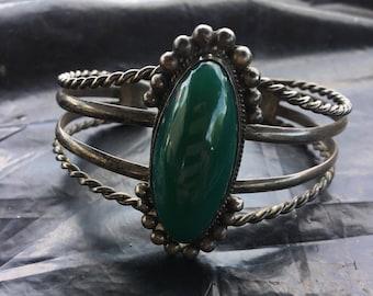 Vintage Sterling 34 gram malachite Mexico cuff bracelet