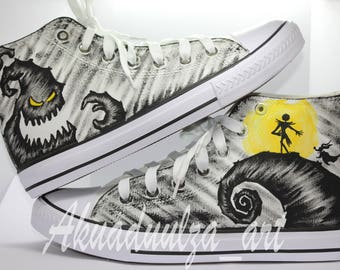 The Nightmare Before Christmas Hand painted Shoes / Jack, Zero and Boogie Man / Custom shoes