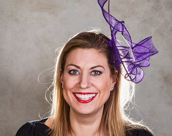 Women's Hat, Women's Fascinator, Mother of the Bride, Wedding Hat, Purple Sinamay Twist Fascinator - Anna