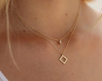 Handmade Gold Necklace 14K, With Zircon Stone, Double Necklace, FREE SHIPPING, Lovely Gift, Lure Handmade Jewelry