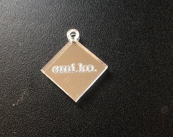 Custom Engraved Diamond (2) Jewelry Tag Lot of Twenty Five (25) Mirror 24mm wide and 20mm tall
