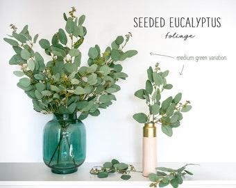 Seeded Eucalyptus Foliage Spray, Artificial Eucalyptus, Minimalist Decor, Green Eucalyptus Leaves, Artificial Plant, Faux Foliage