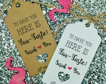 Wedding Fan Favour Gift Tag, Destination Wedding, Personalised