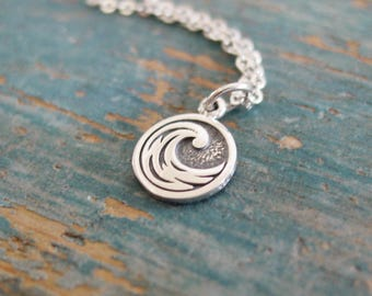 Wave Necklace, Sterling Silver Necklace, Ocean Wave, Water Element, Beach Girl, Minimalist,Beach Wedding, Beach Jewelry, Beach Lovers Gift