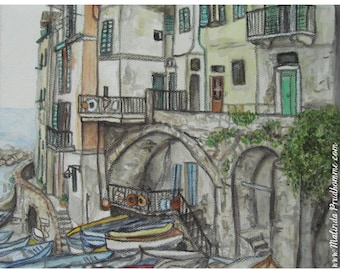 Cinque Terre Riomaggoire Italy - ART PRINT - 8 x 10 - By Mixed Media Artist Malinda Prudhomme