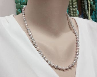 Gray Mauve Freshwater Pearl Necklace - 21 Inches Long
