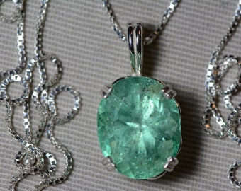 Large Emerald Necklace, Colombian Emerald Pendant 9.21 Carat Appraised at 6,900.00, Sterling Silver, Natural Emerald Jewelry May Birthstone