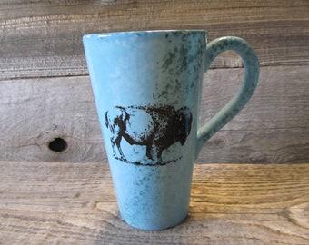 Turquoise Tall Coffee Mug with Buffalo, Ready to Ship