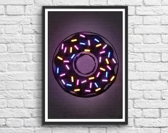 Art-Poster 50 x 70 cm Limited Edition 50 ex. - Neon Donut Street-Art Inspiration