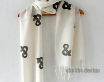 Ampersand Scarf in Cream, Hand stamped Pink Tassel scarf, women scarves, wedding scarves