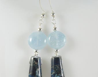 Crazy Lace Agate Gemstone earrings, Blue Earrings, Aquamarine gemstone earrings, Gemstone earrings, Item #137