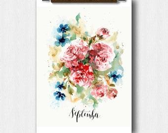 Floral Watercolor,September Month,Calendar art, bridal Shower,Pregnancy Announcement, Baby shower,Perpetual Month Calendar, Wedding keepsake