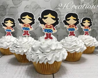 Super Hero Girl Cupcake Toppers
