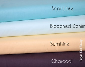 Cotton Fabric Set - Riley Blake Solids - Yellow Fabric , Aqua Fabric , Gray Fabric