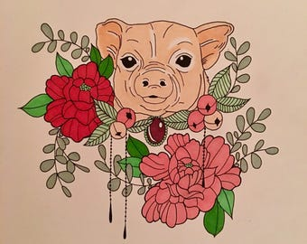Lucky You. Original drawing of pig and flowers. Unframed. 11x14in.