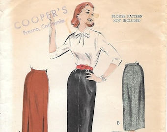 Waist 24-1950s Butterick 6651 Quick and Easy Slim Fitting Pencil Skirt Vintage Sewing Pattern