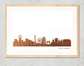 YOKOHAMA city poster, YOKOHAMA skyline print, copper art poster, Yokohama for Newbies, Yokohama Gift, Home Decor, Copper foil city art print