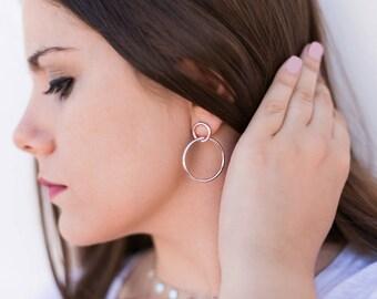 Hoop Earrings, Double hoop earrings, Silver hoop earring, Earrings for women, Large hoop earrings, Large earrings, Circles earrings