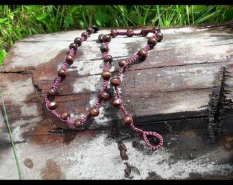 Purple Triple Wrap Bracelet With Wooden Beads